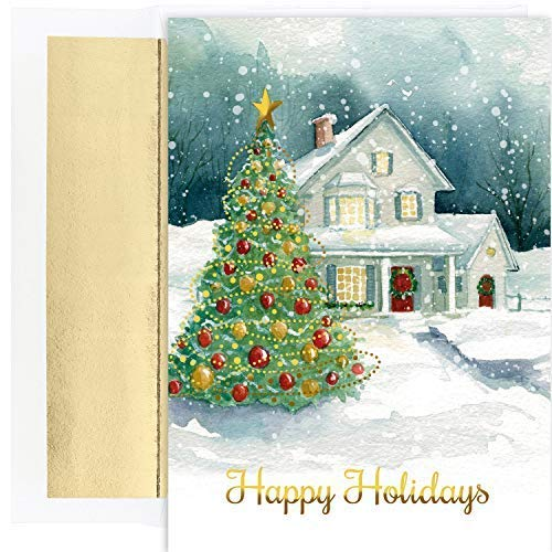Cape May Cottage - Masterpiece Studios Holiday Collection 18 Cards / 18 Foil Lined Envelopes, Winter Cottage