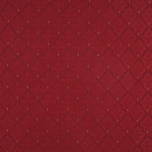 A440 Red Medallion Brocade Upholstery Fabric by The Yard