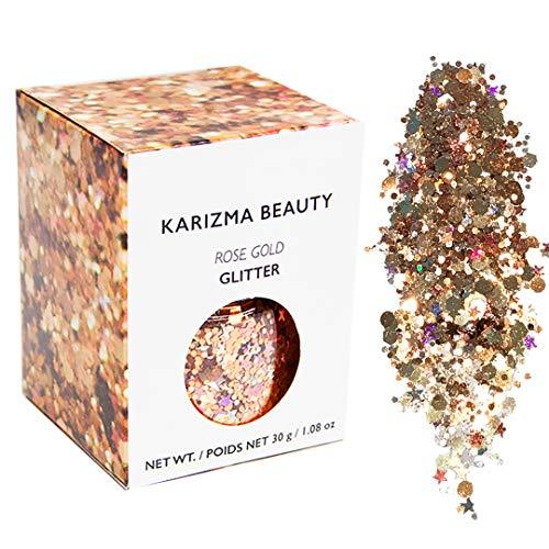 Rose Gold Chunky Glitter Large 30g // Karizma Beauty // Cosmetic Glitter Face Body ()