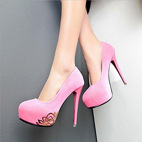 MZG Kleid High Kopf Wasserdicht Heel Schuhen Damen mit Party rose rund Damen feine Dinner Schuhe Tisch Gesicht Schuhe Kaschmir r0xrnaCwzq