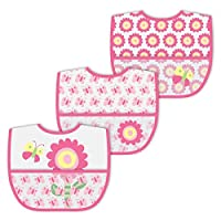 green sprouts Wipe-off Bibs, Pink Flower, 3 Count