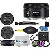 Canon EF 50mm f/1.8 STM Lens + 3 Piece Filter Kit 49mm + Lens Band + Lens Cleaning Pen + Dust Blower + 3 Piece Cleaning Kit + Lens Cap Holder + Cleaning Cloth + Lens Accessory Bundle
