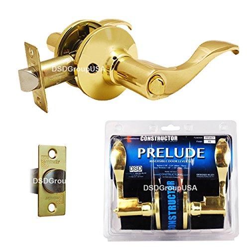 Brass Finish Door Locks - Prelude Privacy by Constructor Lever Door Lock Handle Set Polished Brass Finish