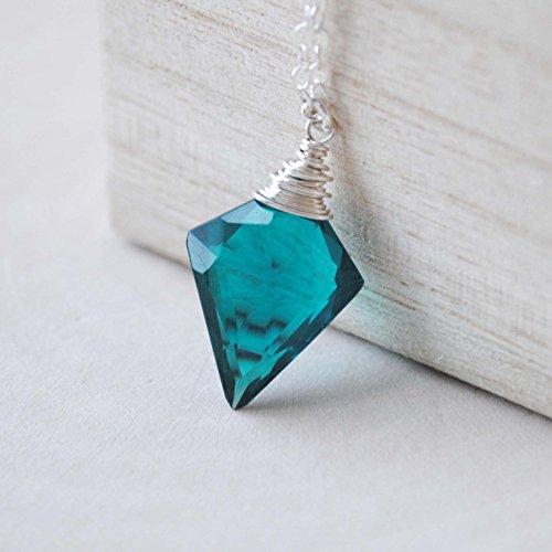 Teal Quartz Arrowhead Necklace Sterling Silver