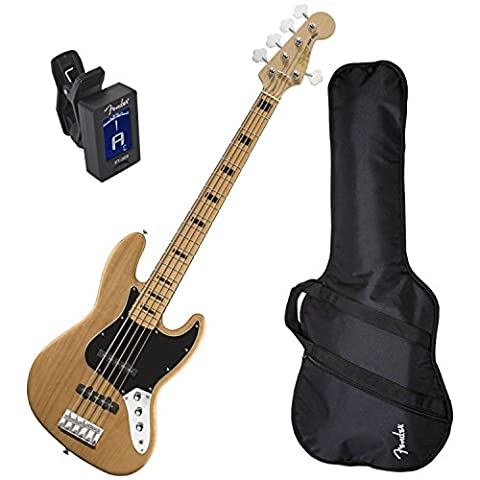 Squier 5-String Vintage Modified Jazz Bass Natural w/ Fender Gig Bag and Tuner (Fender Jazz Bass Five)