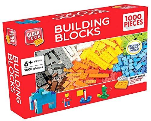 Building Blocks / Bricks, 1000 Pieces, Multiple Colors, Plastic by Block Tech