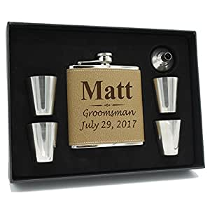 Custom Engraved Brown Groomsman Flask Gift Box Set - Personalized Groomsmen Gifts - 3 Lines Style - Brown Leather