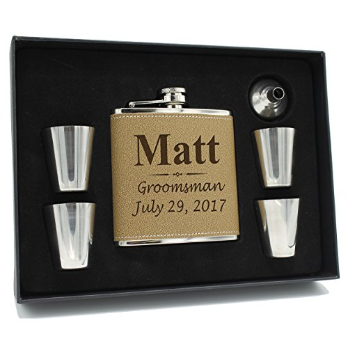 Custom Engraved Brown Groomsman Flask Gift Box Set - Personalized Groomsmen Gifts - 3 Lines Style - Brown Leather ()