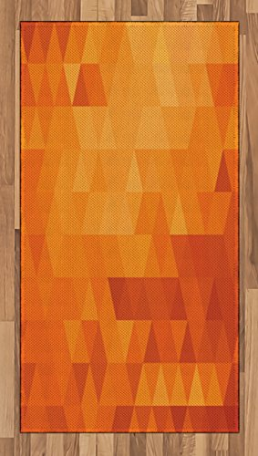 Ambesonne Rug Orange, Triangle Mosaic Shapes Patterns Abstract Digital Pixel Like Effect Print, Flat Woven Accent Rug Living Room Bedroom Dining Room, 2.6 x 5 FT, Burnt Orange (Mosaic Rug)