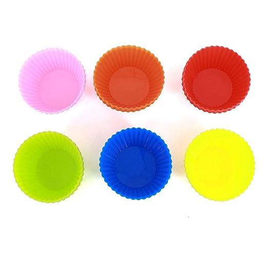 Meliya - Juego de 24 tazas de silicona reutilizables para hornear huevos redondos talla única Random Color: Amazon.es: Hogar