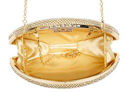 Dorado Girly Mujer Sintético De Cartera Handbags Mano Material Para WrAFWn
