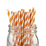 Just Artifacts Decorative Striped Paper Straws (100pcs, Striped, Orange)