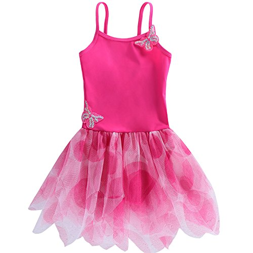 [BAOHULU Girls Butterfly Ballet Leotard Tutu Dance Dress 3-8 Years B092_HotPink_L] (Dance Wear Costumes)