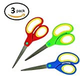 3 inch sewing scissors - Bright Red, Blue, and Green Colored Scissors For All Ages! 6 Inches, 3 Inch Sharp Steel Blade Cutter. Very Comfortable Grip Cutting Handle, Pack Of 3. By Mega Stationers