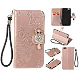 for iPhone 6 Plus 6S Plus Case, CrazyLemon Bling Rhinestone PU Leather Owl Embossed Wallet Stand Folio Cover Cases TPU Bumper with Kickstand Card Holders Money Clip Magnetic Clasp Shockproof Protective Case for iPhone 6 Plus / iPhone 6S Plus 5.5 inch - Rose Gold