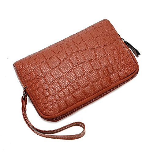 Brown Holder PU Domybest Leather Zipper Wallet Clutch Wristlets Phone Women Handbags Coin Light axT1xSq7
