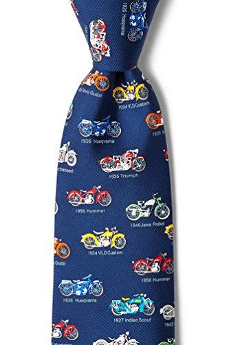 Navy Blue Silk Tie | Classic Motorcycles Necktie (Ties Blue Silk Novelty Alynn)