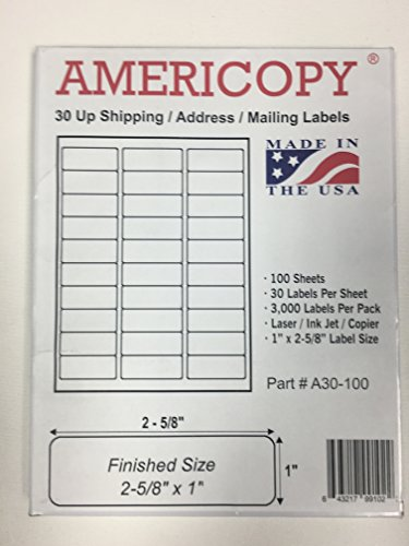 "5 Packs X 3,000 Label Name and Address Labels, 2-5/8"" x 1"", Same Size as Template 5160 (Total 15,000 Labels)"