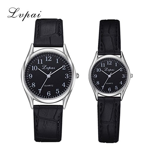 Couples Collection Watch - DEESEE(TM) 1 Pairs Lvpai Leather Band Watch Casual Couples Quartz Analog Wrist Watch Gift (Black)
