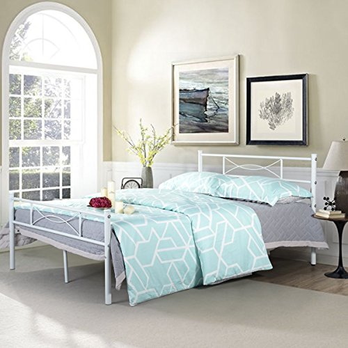 322b396ae64 SimLife Metal Bed Frame Full Size 10 Legs Two Headboards Mattress ...