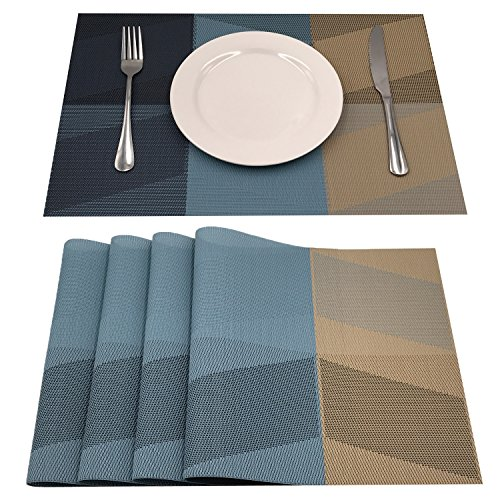 AMZMOO Placemats,Set of 4 Placemats,Dining Table Mat Anti-Slip,Heat Insulation PlaceMat,Table Mats set of 4 (A-Blue)