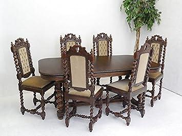 Tischgruppe Essgruppe Esstisch 6 Stühle Antik Gründerzeit Um 1880 Eiche  (6457)