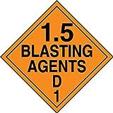 Accuform Signs MPL134VP50 Plastic Hazard Class 1/Division 5D DOT Placard, Legend ''1.5 BLASTING AGENTS D 1'', 10-3/4'' Width x 10-3/4'' Length, Black on Orange (Pack of 50)