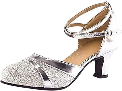 3 Inch Heels Silver Pink Latin Dance Shoes Satin Women/'s Ballroom Dancing Shoes