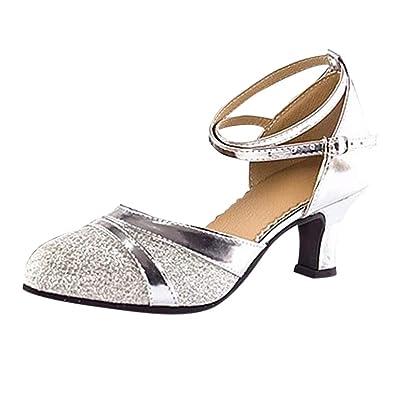 086af453d7b4b6 Magiyard Chaussures Femme Sandales Talons Salle de Bal Tango Latin Salsa  Chaussures de Danse Paillettes Chaussures