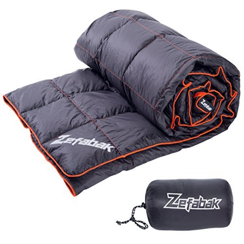 "Down Blanket for Camping Indoor Outdoor by ZEFABAK Puffy 600 Fill Power Duck Down Cloudlet Blanket or Sleeping Bag Replacement,Down Filling Weight 11 OZ,with Reflective Logo, 80"" x 54"", Black"