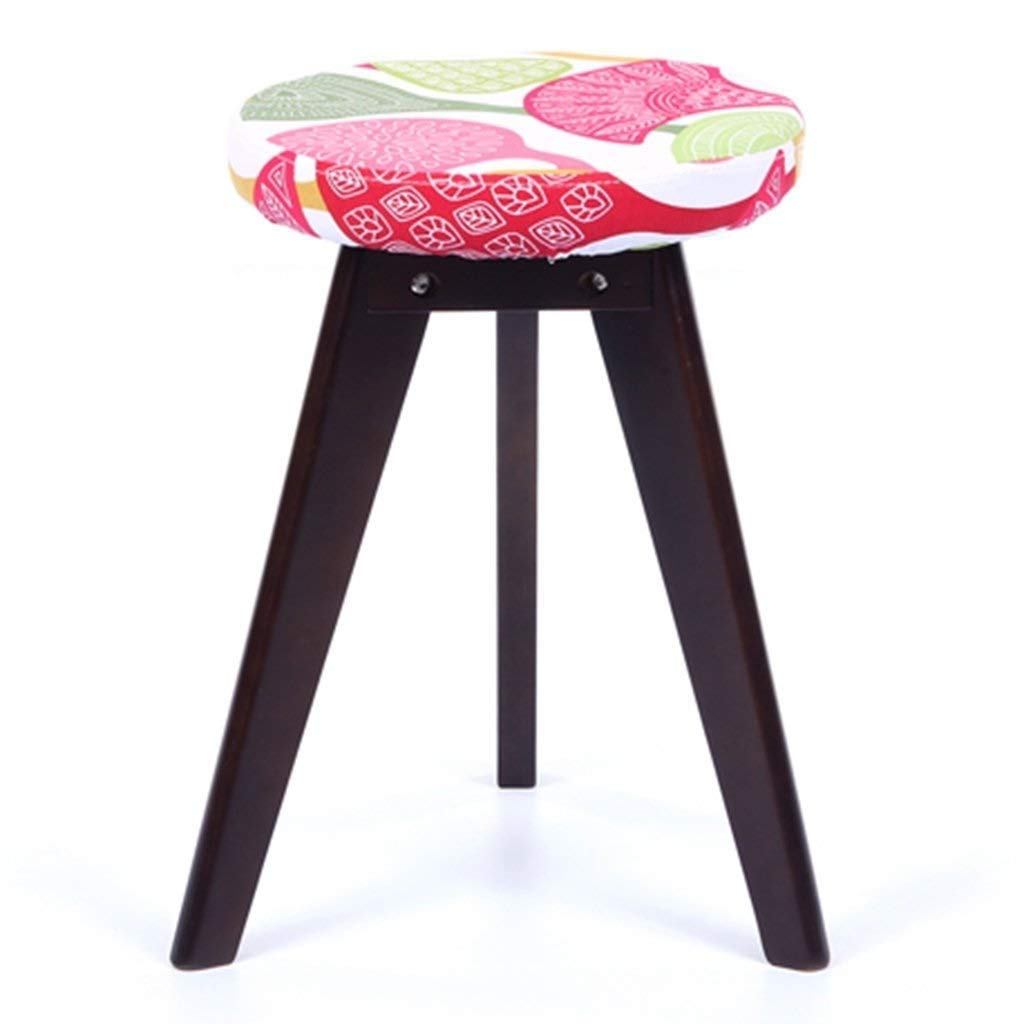 B Solid Wood Round Fabric Stool, Home Living Room Dining Table Stool Makeup Stool GFMING (color   A)