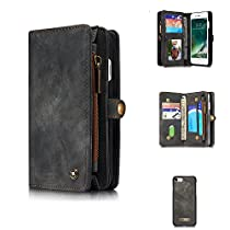 Felidio iPhone 8 Wallet Case, Retro Leather Case Purse for iPhone 7 and iPhone 8 w Zipper Pockets Card Holder Magnetic Flip Case [2 in 1], Black