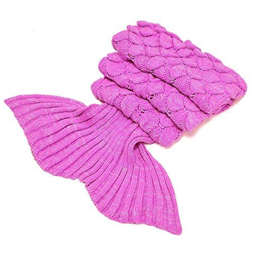 LAGHCAT Big Mermaid Tail Blanket and Mermaid Tail Blanket Crochet Thick Adult/Children, Sleeping Blanket. (Light Pink)