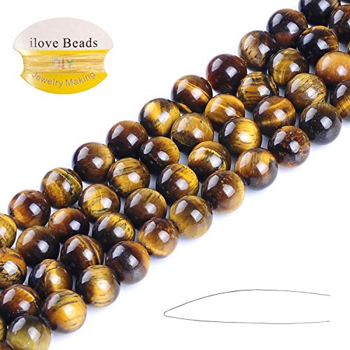 ILVBD Natural Round AA Yellow Tiger Eye Beads 10MM Gemstone Loose Beads for Jewelry Making (10MM)