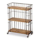 Small Bathroom Tall Cabinet The Urban Chic Rolling Rack with 3 Shelves, Wheels, Metal and Wood, 2 Ft 6  Inches (31  Inches - 80 cm) By Whole House Worlds