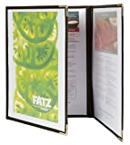 Securit Crystal Range Transparent Menu Holder A4 Brown Edged, Tri-fold