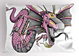 Ambesonne Dragon Pillow Sham, Digital Robotic Cyborg Dragon Character Figure Modern Game Knight Graphic, Decorative Standard Queen Size Printed Pillowcase, 30 X 20 inches, Yellow Fuchsia Grey