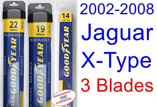 2002-2008 Jaguar X-Type Replacement Wiper Blade Set/Kit (Set of 3 Blades) (Goodyear Wiper Blades-Assurance) (2003,2004,2005,2006,2007) by Goodyear Wiper Blades
