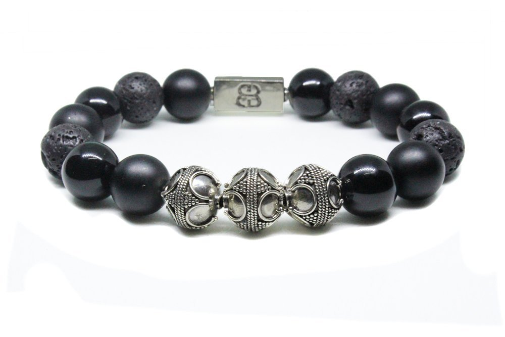 Men's Mixed Black Bracelet, Matte Black Onyx, Lava Stone, Black Obsidian and Sterling Silver Bead Bracelet, Men's Designer Bracelet