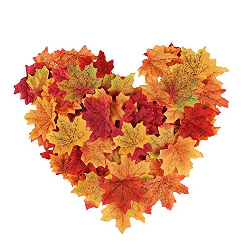 Artificial Maple Leaf Fall Used for Wedding Red Carpet Sprinkle Flower,Photo Shoots,House Party Banquet, Birthday Etc Decoration, Halloween Thanksgiving Christmas DIY Art Multi-use Maple Leaf (300pcs) (Best Flowers For Fall Wedding)