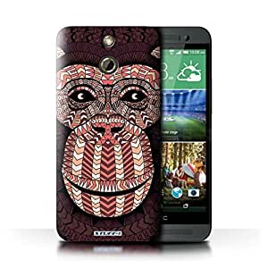 KOBALT? Protective Hard Back Phone Case / Cover for HTC One/1 E8 | Monkey-Red Design | Aztec Animal Design Collection