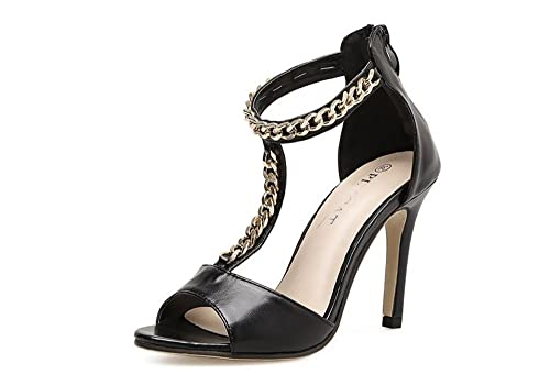 0aefb5048ec Women s Metal Ankle Strap Thin High Heel Platform Pumps Party Work Dress  Shoes(Black36