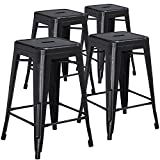 "Cheap Flash Furniture 4 Pk. 24"" High Backless Distressed Black Metal Indoor-Outdoor Counter Height Stool"