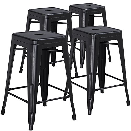 . 24'' High Backless Distressed Black Metal Indoor-Outdoor Counter Height Stool (24' Backless Metal)
