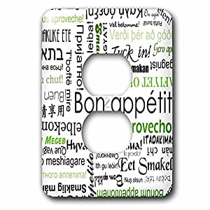 3dRose lsp_57527_6 Green Bon Appetit Kitchen Typography Text Art Words for Enjoy Your Meal in Different Languages Light Switch Cover