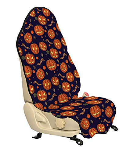 Lunarable Pumpkin Car Seat Hoody, Halloween Themed Celebratory Banners Trick or Treat and Carved Pumpkins, Car and Truck Seat Cover Protector with Nonslip Backing Universal Fit, Indigo Orange Yellow -