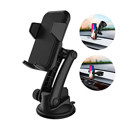 Cell Phone Holder for Car, Car Phone Mount, Yostyle Car Windshield & Dashboard Phone Mount Cradle for iPhone X/Xs/XR/Xs Max/8/8Plus/7/6s/SE,Galaxy S10/S9/S8/S7/Note 8 9,LG, Nexus, Sony,BlackBerry
