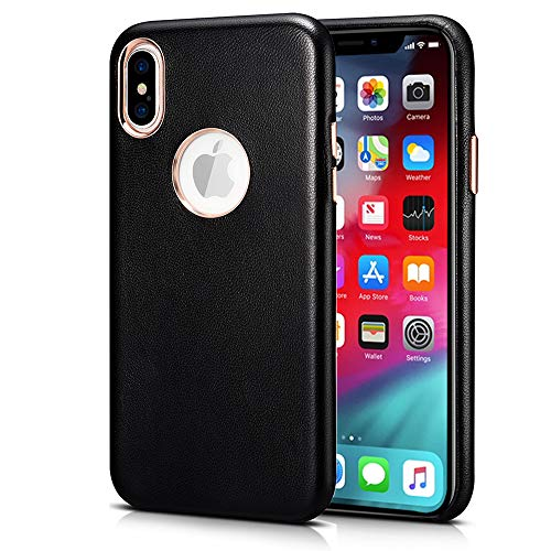 - Genuine Leather Back Cover Case for iPhone Xs Max, Xoomz Premium Plating Vintage Style Lambskin Ultra Thin Slim Fit Protective Back Cover Case for iPhone Xs Max (6.5 Inches) (Black)