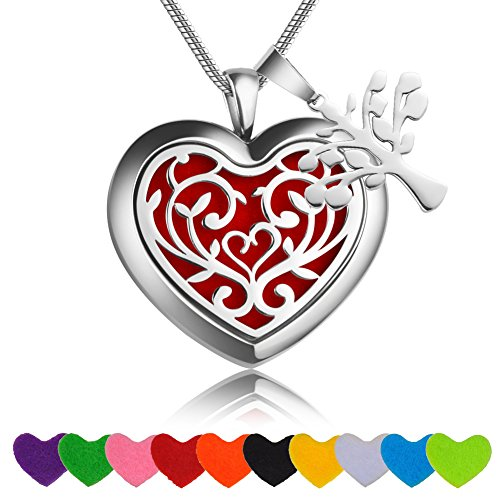 Aromatherapy Essential Oil & Diffuser Necklace Gift Set Heart Jewelry Premium Hypoallergenic Stainless Steel Perfume Pendant Locket Adjustable 23.6