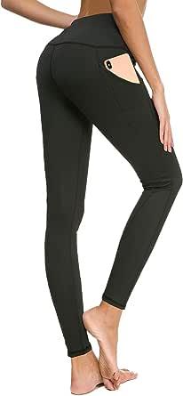 Bamans High Waist Out Pocket Yoga Pants, Workout Running Leggings Women, 4 Way Stretch Sport Skinny Yoga Leggings